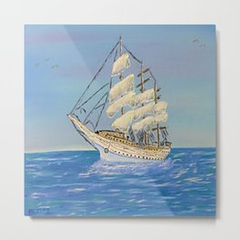 White Sailing Ship Metal Print