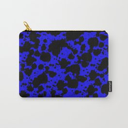 Bright Blue and Black Funny Leopard Style Paint Splash Pattern Carry-All Pouch