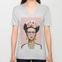 Frida on Soft Pink Unisex V-Neck