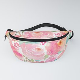 Watercolor Peonies Summer Bouquet Fanny Pack