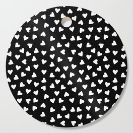 Tiny Hand Drawn White Hearts Cutting Board