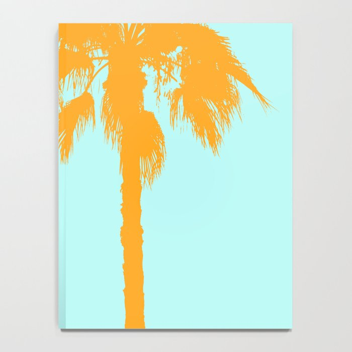 Orange palm trees silhouettes on blue Notebook