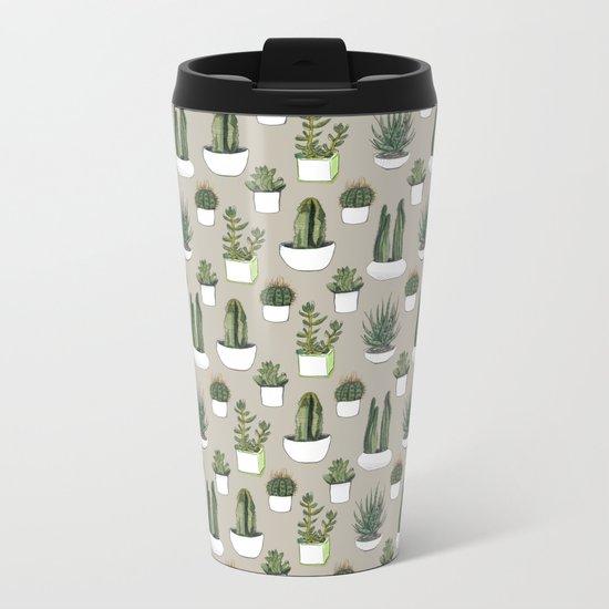 Watercolour cacti & succulents - Beige Metal Travel Mug