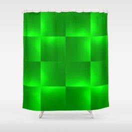 Shiny gradient Checks, green Shower Curtain