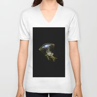 jelly fish V-neck T-shirts featuring Jelly Fish by Petra Heitler