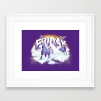 friday Framed Art Prints featuring Friday! by littleclyde