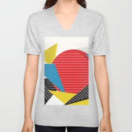 Memphis Sun Abstract Throwback Retro 1980s 80s Trendy Hipster Pattern Eighties Unisex V-Neck