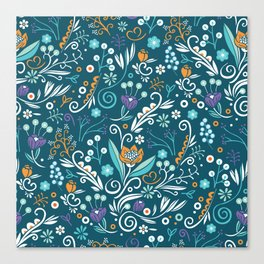 Flower circle pattern, blue Canvas Print