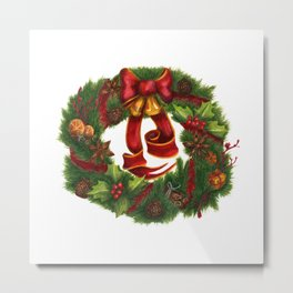 Christmas wreath. Art nouveau. Metal Print