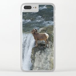 Big Horn Sheep & Rocky Mountain Waterfall Clear iPhone Case