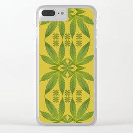 Marijuana Leaf Pattern Clear iPhone Case