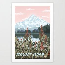Mount Hood National Park Poster, Portland Oregon, Pacific Northwest, Vintage Retro Travel Poster Art Print