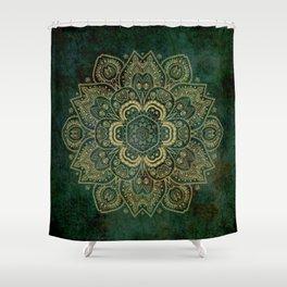 Golden Flower Mandala on Dark Green Shower Curtain