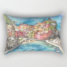 Cinque Terre ink & watercolor illustration Rectangular Pillow