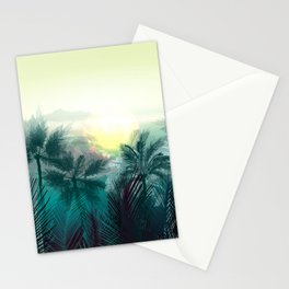 Tropical landscape. Pampa jungle trees, palms Stationery Cards