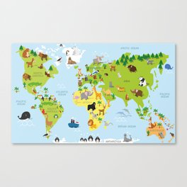 Funny cartoon world map with traditional animals of all the continents and oceans Canvas Print