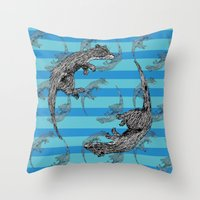 otters Throw Pillows featuring Swimming Otters by Curious Nonsense.
