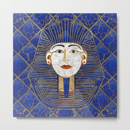 Marble & Gold pharaoh on Lapis Lazuli Metal Print