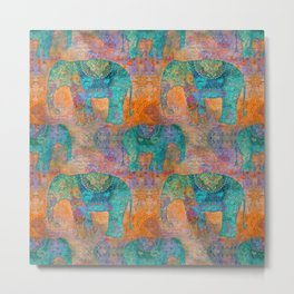 Elephant Pattern allover orange turquoise Metal Print