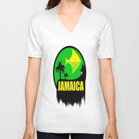jamaica V-neck T-shirts featuring JAMAICA VACATION  by Robleedesigns