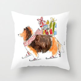 Shetland Sheepdog Skating Throw Pillow