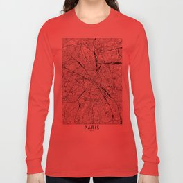 Paris White Map Long Sleeve T-shirt
