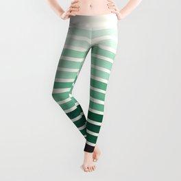Deep Green Mid Century Modern Minimalist Scandinavian Colorful Stripes Geometric Pattern Round Circl Leggings