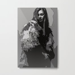Woman with fur coat in black and white Metal Print