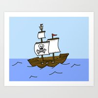 pirate ship Art Prints featuring Pirate Ship by Isobel Woodcock Illustration