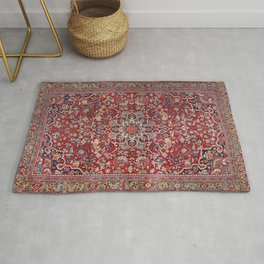 Fine Persia Bijar Old Century Authentic Colorful Red Blue Yellow Vintage Patterns Rug