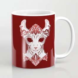 Elven Kitty - Sphynx Elf Princess with Fangs - Ruby Red Coffee Mug