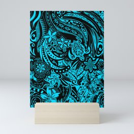 Hawaiian - Samoan - Polynesian Teal Tribal Threads Mini Art Print