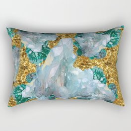WHITE QUARTZ  CRYSTALS & BLUE-GREEN AQUAMARINE Rectangular Pillow