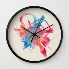 London, United Kingdom Colorful Skyround / Skyline Watercolor Painting Wall Clock