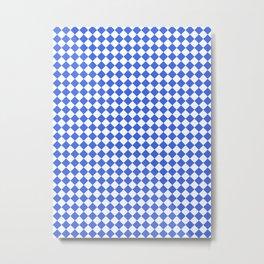 Small Diamonds - White and Royal Blue Metal Print