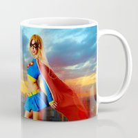 supergirl Mugs featuring Supergirl by Shana-e