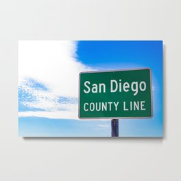 Closeup of the San Diego County Line Sign against a Blue Sky in the Anza Borrego Desert State Park Metal Print