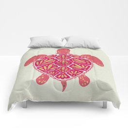 Sea Turtle in Pink & Gold Comforters
