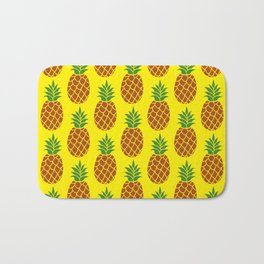 Pineapple Yellow Background Pattern Bath Mat