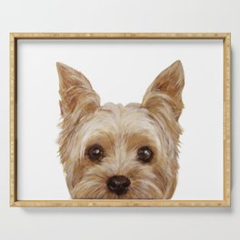 Yorkshire Terrier original painting print Serving Tray