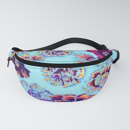 flowers on turquoise Fanny Pack