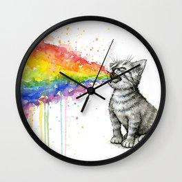 Kitten Puking Rainbow Wall Clock