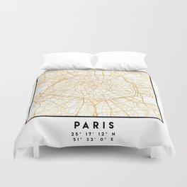 Paris France City Street Map Art Duvet Cover