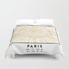 PARIS FRANCE CITY STREET MAP ART Duvet Cover