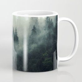 Mountain pine forest in fog, cloud and rain - vintage filtered photo Coffee Mug