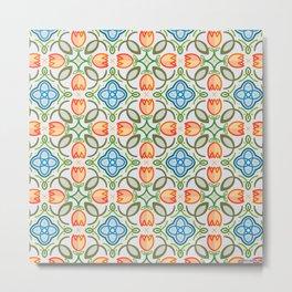 FLOWER TILE DESIGN (ORANGE, TEAL, GREEN) Metal Print