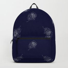 King Protea Outline - Navy and White Backpack