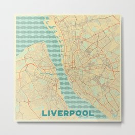 Liverpool Map Retro Metal Print