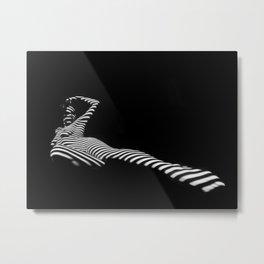 6944-KMA Black White Striped Nude Woman Leg Out Metal Print