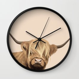 Cream Highland Cow Wall Clock